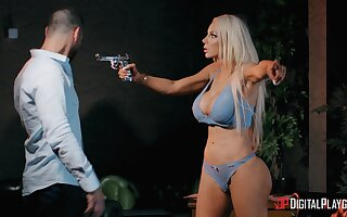 Busty blonde bitch Nicolette Shea cheats on her husband in the evening