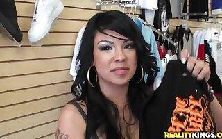 Shop assistant Desire seduces mature Jmac