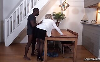 Perfidious man is fucking a mature, blonde woman, Julie Francais, while her husband is working