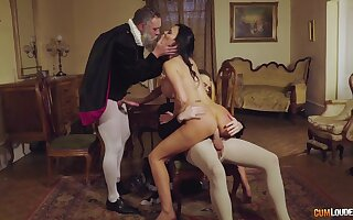 Excellent cosplay threeway with horny MILF and three horny gents