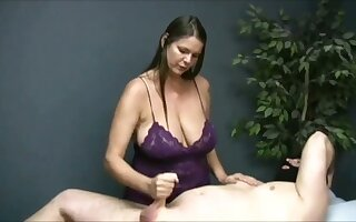 Turned me above watching that chesty masseuse jack off their way client above camera