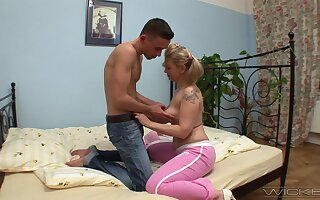 Smooth fucking in the first place the bed with blonde matured wife Olympia