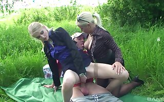Outdoor fun with the same dick be proper of mommy and the daughter