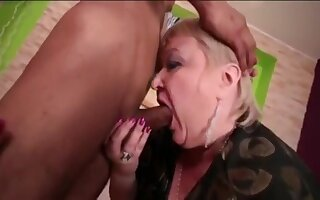 Cock-Hungry Grandma Gobbles Up Wasting away Asian Dear boy