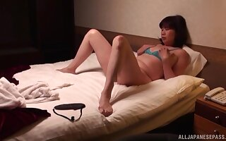 Horny Asian wife in lingerie and stockings wants to essay sex