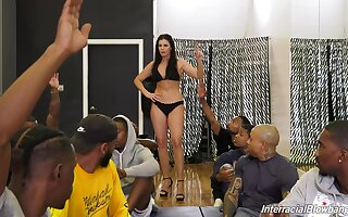 Mature pornstar India Summer gets on her knees for interracial gangbang