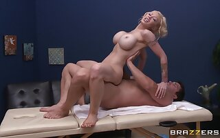 Oiled back massage leads to passionate sex in all directions MILF Candy Manson