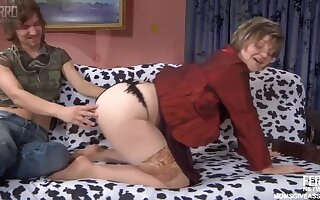 Russian Adult in uncover stockings with son