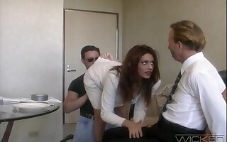 Handsome tie the knot Rayleene rides another dick while tied up hubby watches