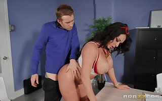Fine ass MILF bends over the chifferobe for this dude give pound her