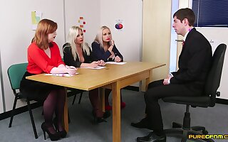 Supplicant in suit pleases these horny MILFs during job concentrate