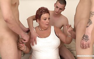 Wealthy old bird pays for gangbang with three young guys