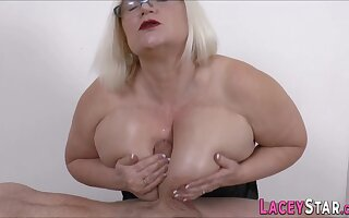 Big-Breasted brit granny blowing with an increment of tit fucks